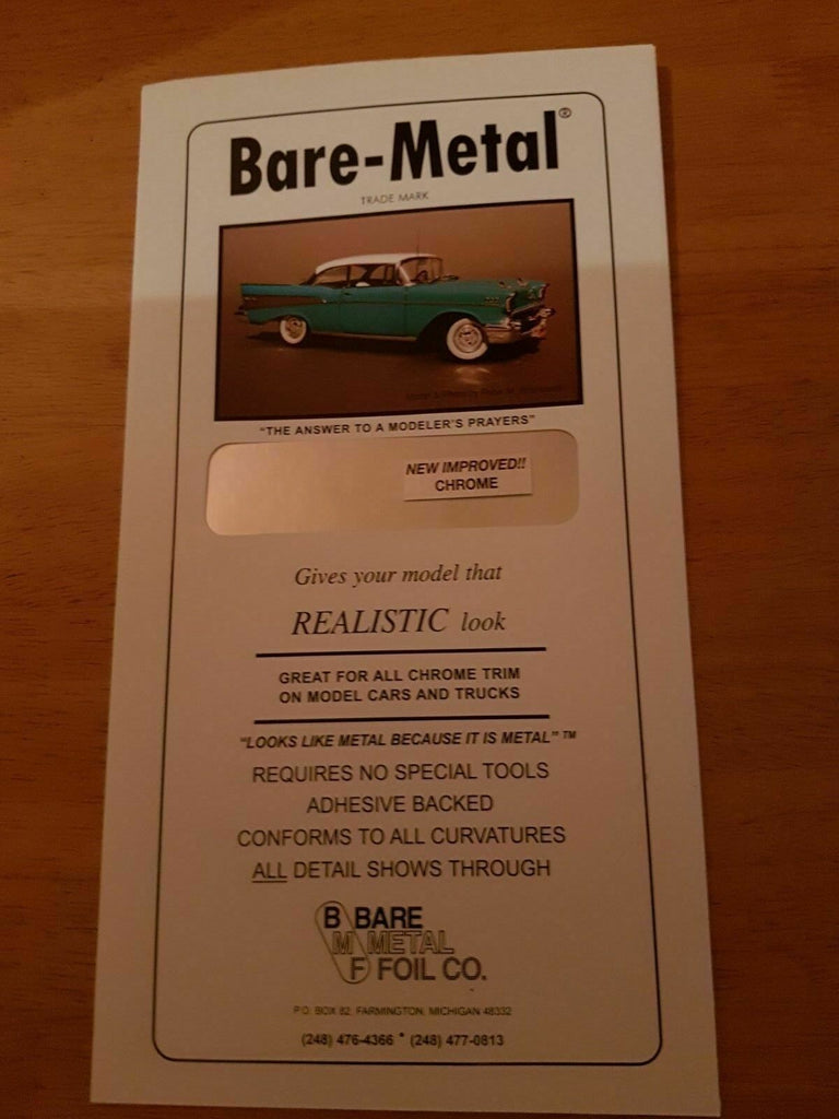 BARE METAL FOIL  (self adhesive) Black Chrome, Gold, Matt Ally, Chrome