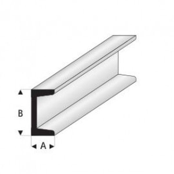 Maquett Plastic Styrene Sections. Pack 5, 330mm long. Channel Section. Select Size