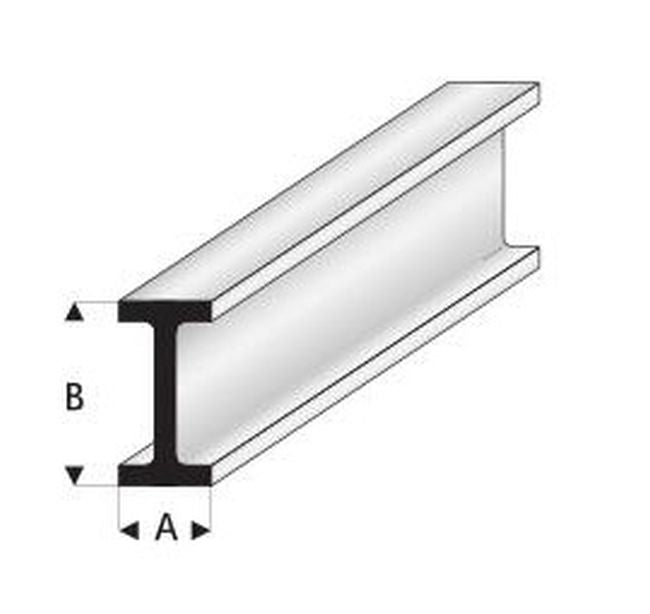 Maquett Plastic Styrene Sections. Pack 5, 330mm long. I Beam. Select Size