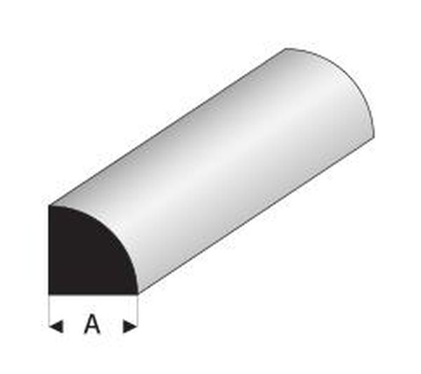 MAQUETT Styrene Quarter Round Rod, 5 pce pack, 330mm long. Select Size