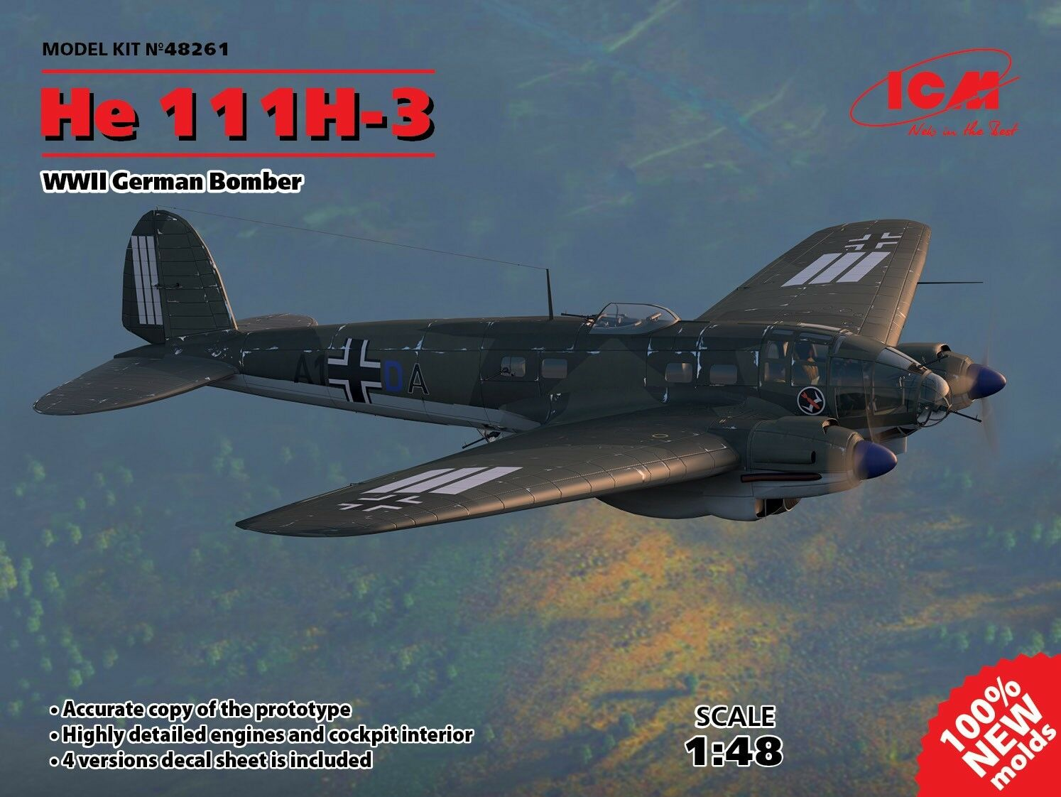 ICM 1:48 Heinkel He-111H-3 WWII German Bomber (100% new moulds)
