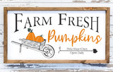 Wood sign decorated with Farm Fresh Pumpkins design for fall.