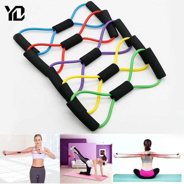 Short yoga resistance bands with handles