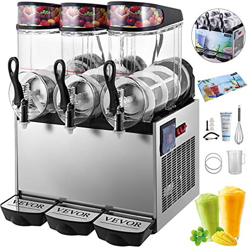 Slushy Machine 12Lx3 Bowl Frozen Drink 900W Margarita Maker for Supermarkets Restaurants Commercial Use, Sliver