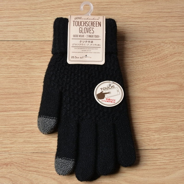 Wool Knitted Cashmere Touchscreen Gloves