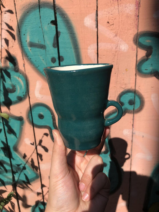 Blue Green Altered Ceramic Coffee Mug