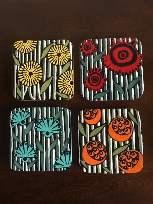 Abstract Floral Coasters