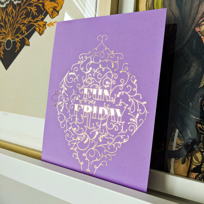 Fun Friday Lettering Print (Gold Foil on Darker Purple)