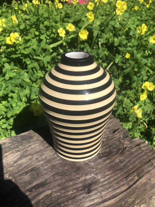 Tall Circlular Ceramic Bud Vase - MADE TO ORDER (Black White Bud Vase)