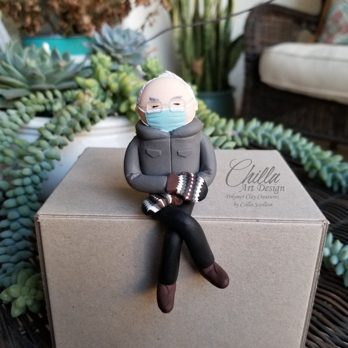 Bernie Sanders Inauguration Inspired Figurine with Iconic Mittens