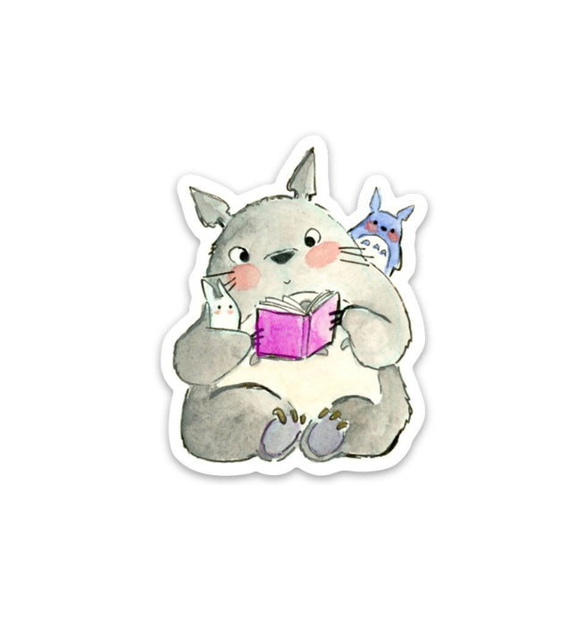 Reading Totoro Sticker