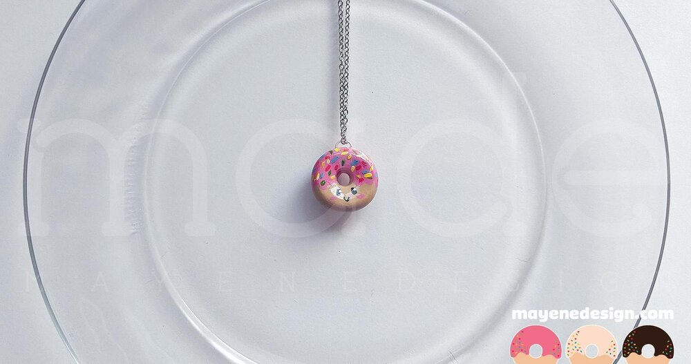 Sprinkled Happy Strawberry Frosted Donut Necklace
