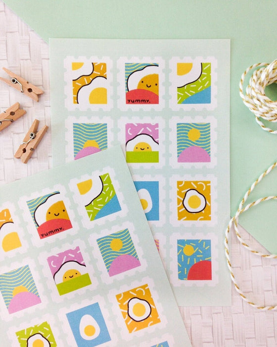 Egg Stamp Sticker Sheet