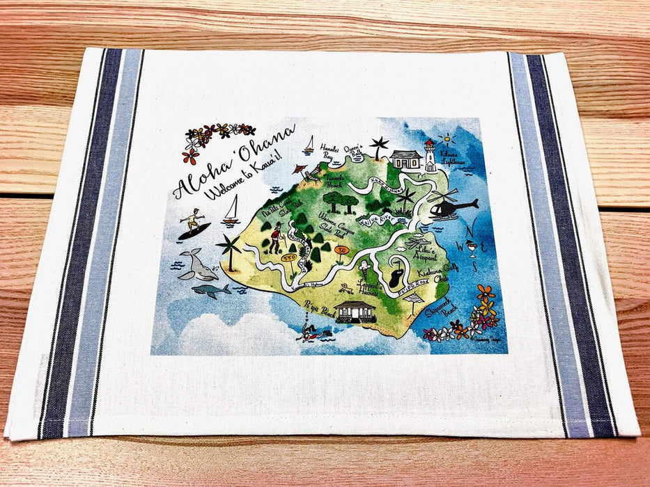 Kaua'i Map Kitchen/Tea Towel