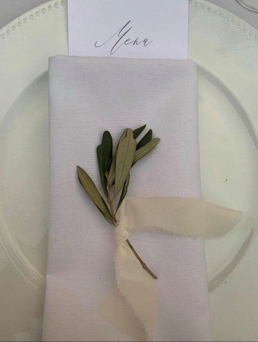 Olive foliage - single 5-inch stems, 60 count.  Elegant place setting accent for wedding or party - FREE shipping!