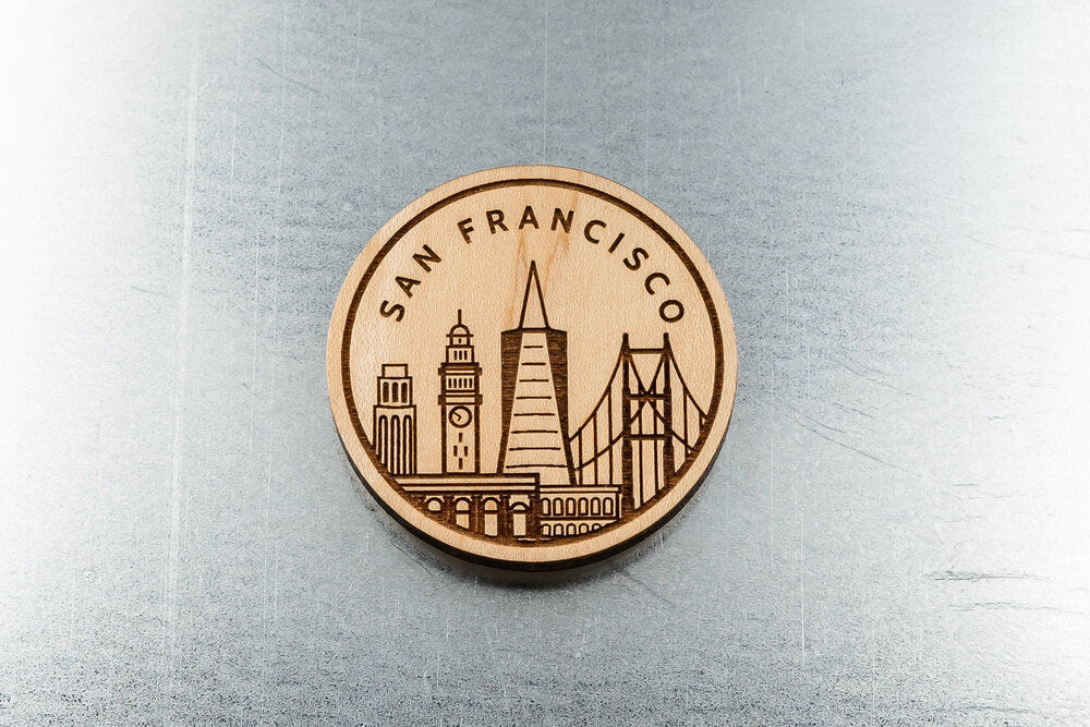 San Francisco City Skyline Wood Fridge Magnet