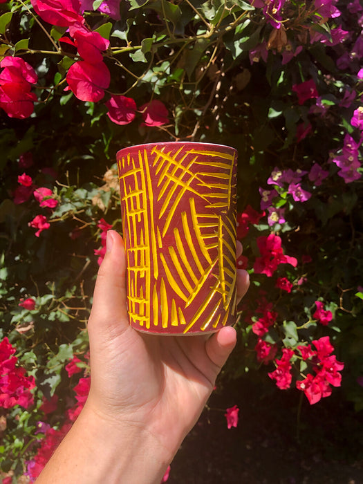 Red & Yellow Carved Tumbler
