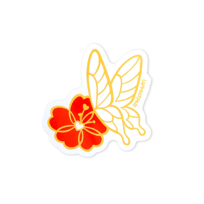 "Butterfly and Flower 3"" Sticker"