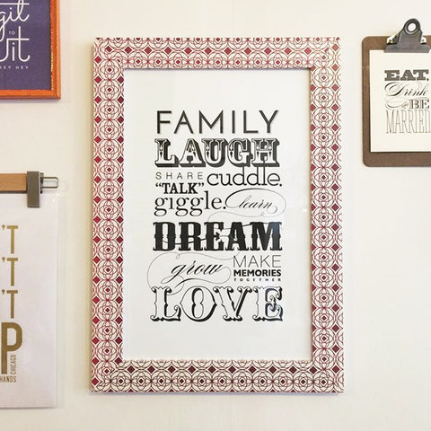 Laugh Dream Love frame print by Orange Beautiful