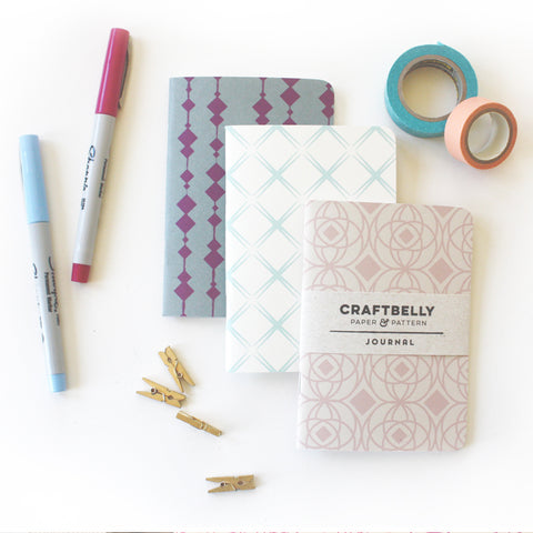 Three patterned journals