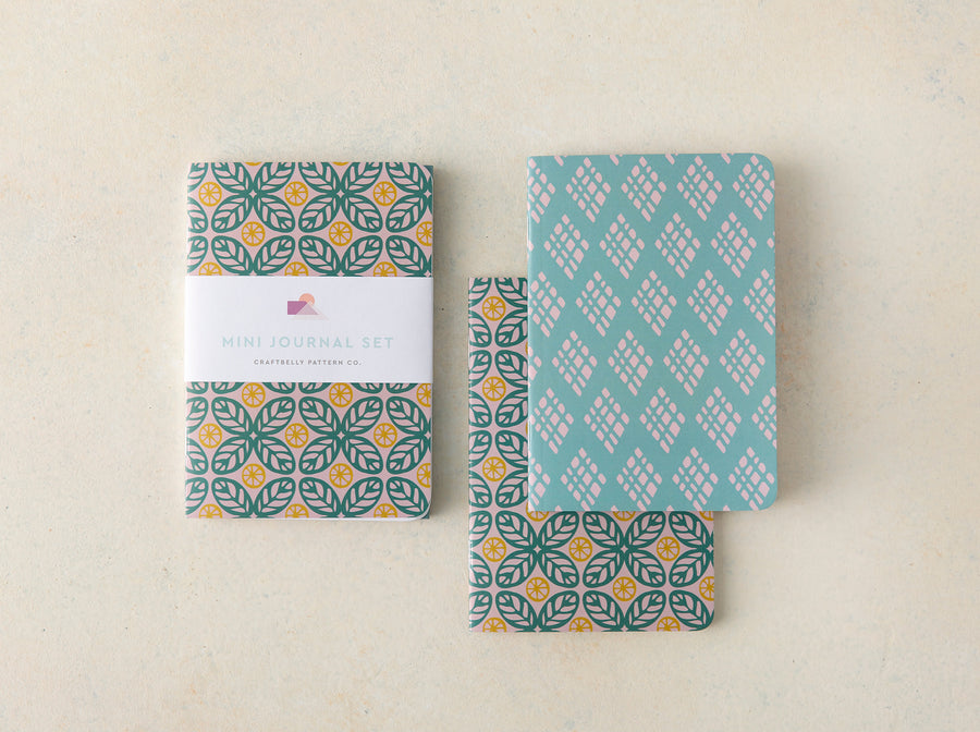 Citrus Leaf and Diamonds Mini Journal Set