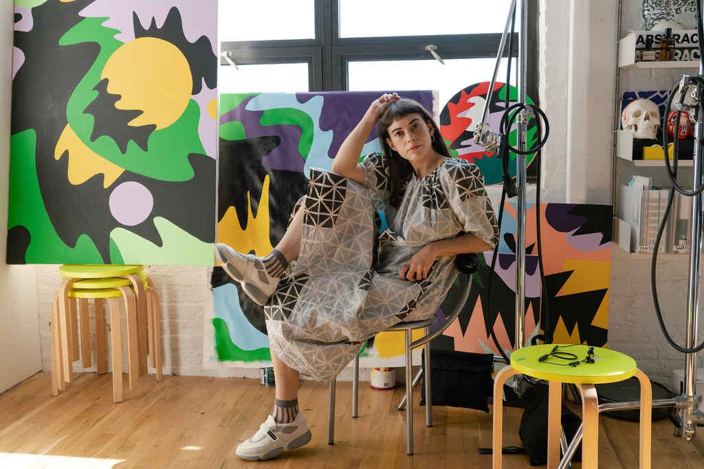 Leta Sobierajski in her studio wearing the Seek Collective Goa Dress