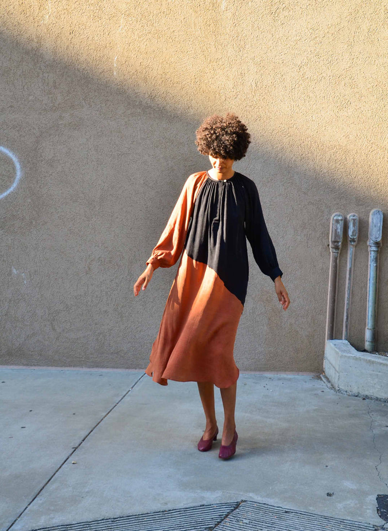 Caz Dress, black + rust