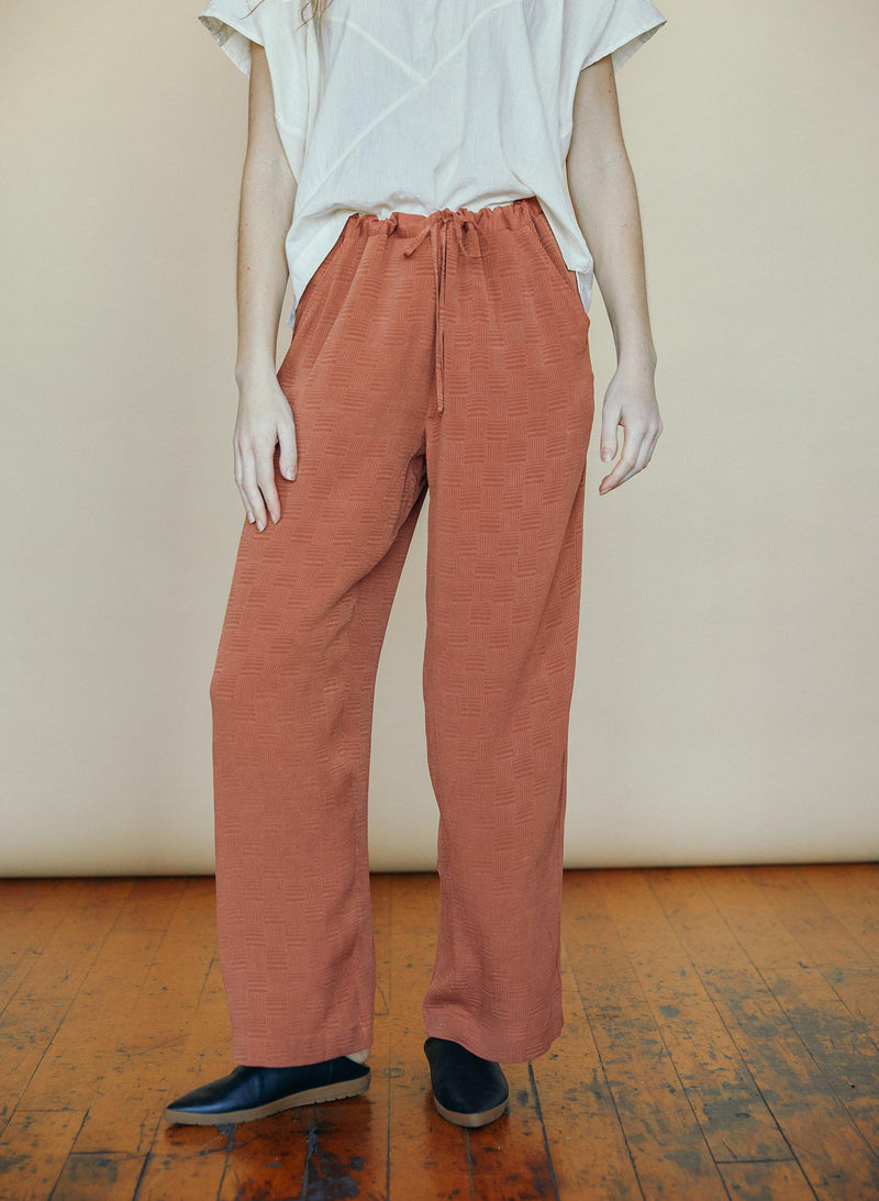 Drawstring Pants, rust silk jacquard