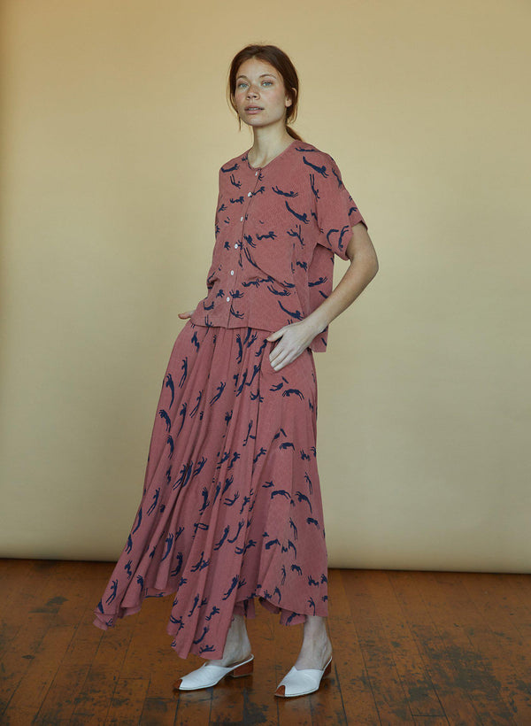 Abby Skirt, terracotta swimmers print