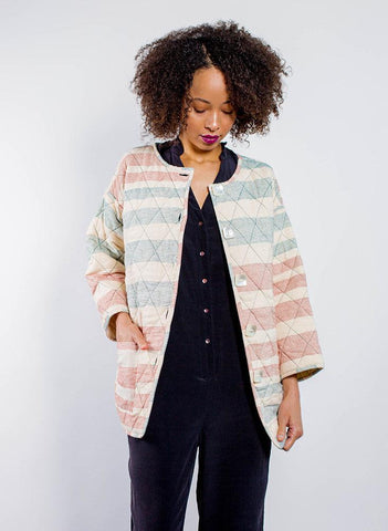 AM Quilted Coat, Ahilya stripe