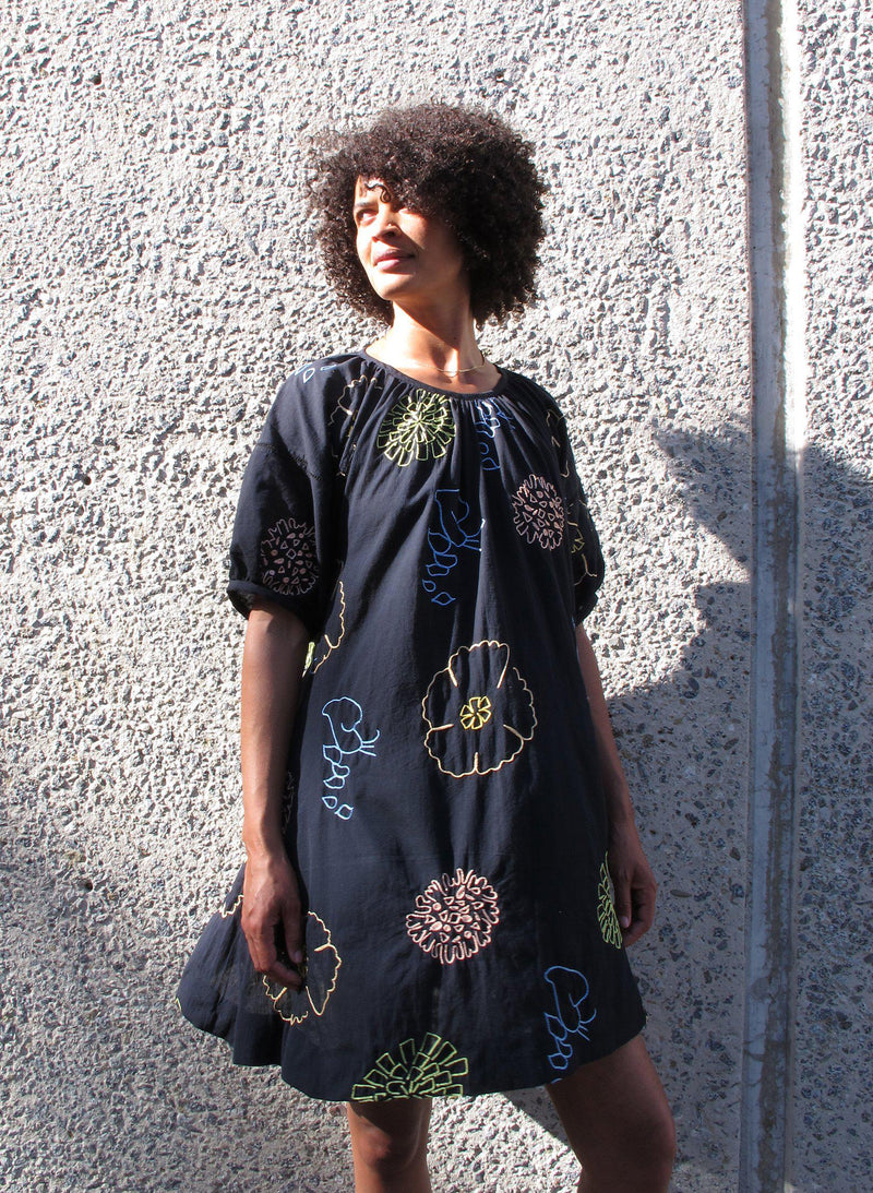 Katja Dress, flora embroidery