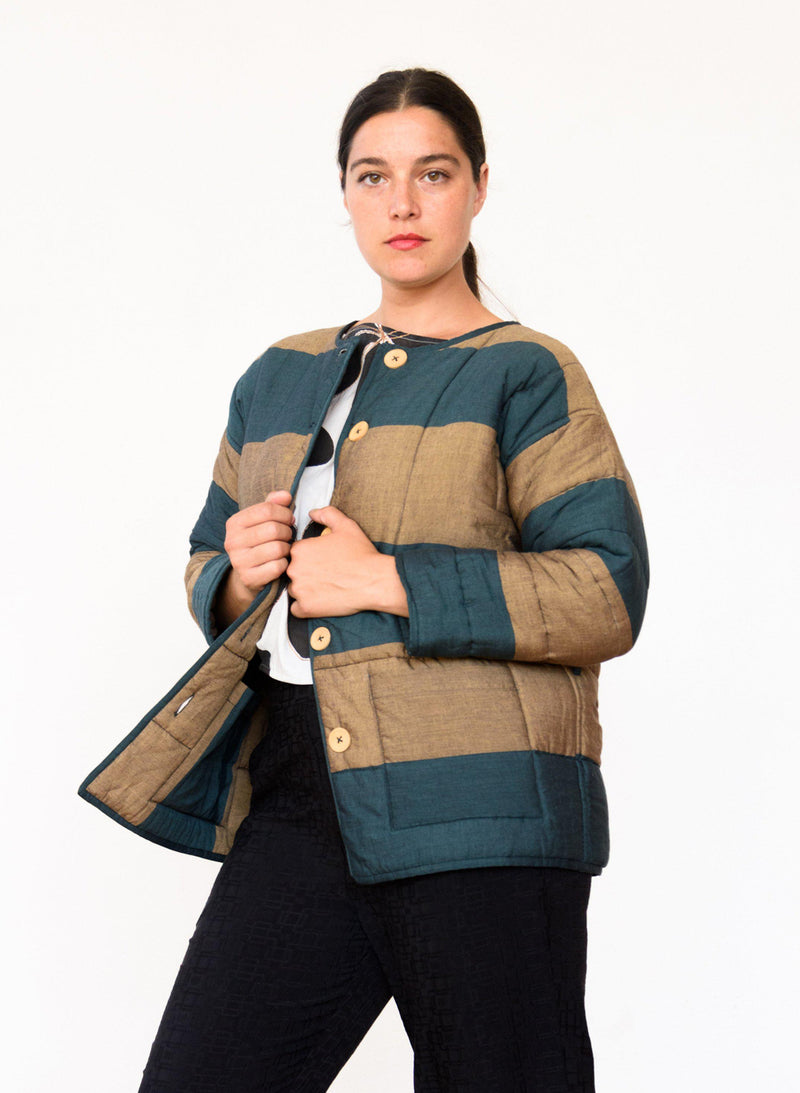 AM Quilted Coat, fern + camel stripes