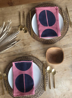 Napkin Set, rosa eclipse print