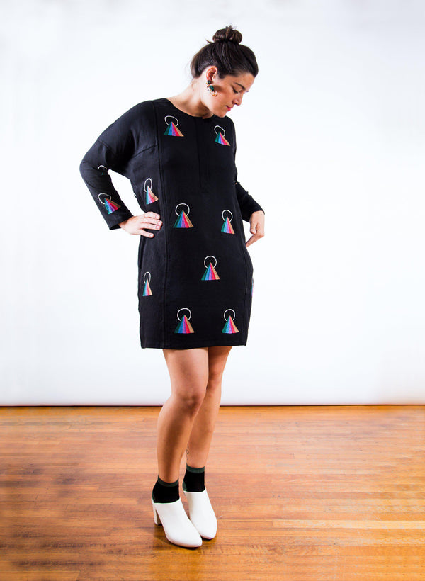 Sara Dress, rainbow embroidery