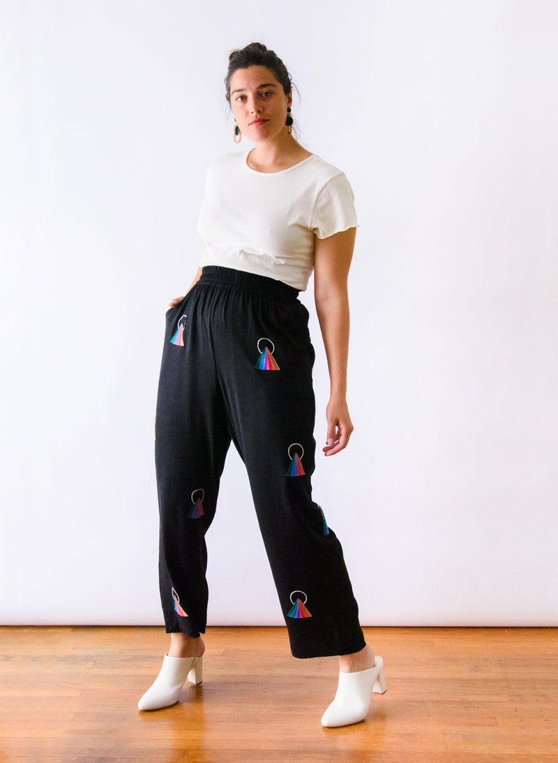 Sukie Pants, rainbow embroidery
