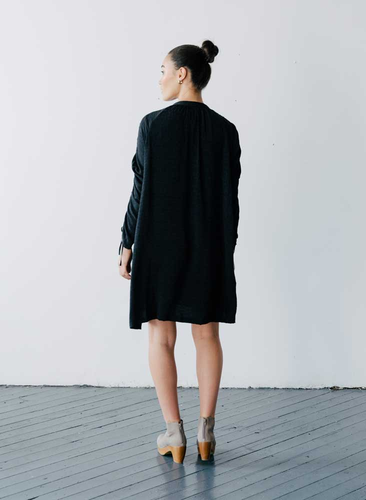 Cy Shirt Dress, black tile silk jacquard