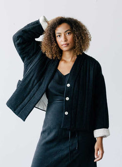 Rachel Quilted Coat, black tile silk jacquard