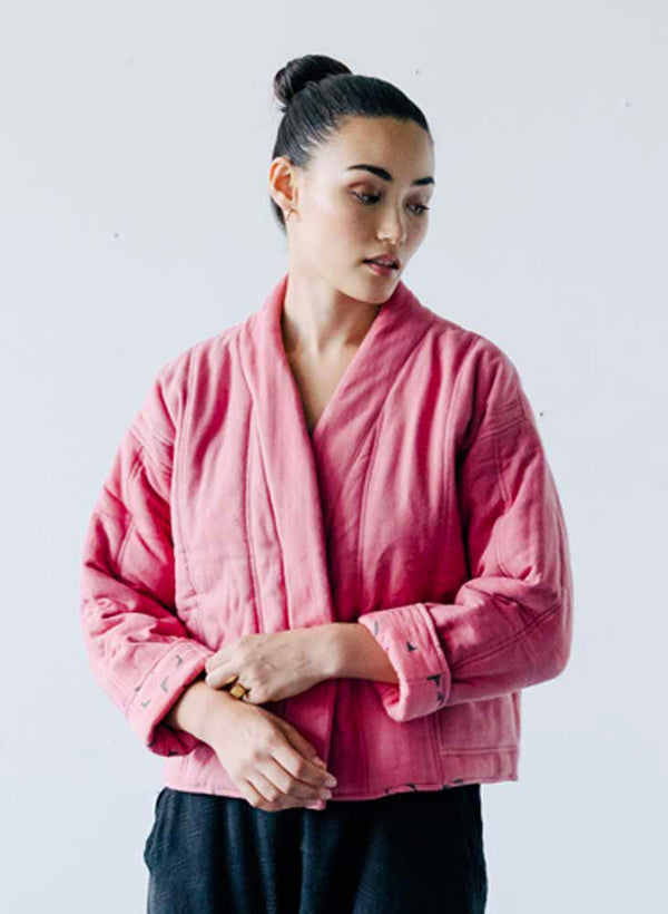 Rachel Quilted Coat, rosa twill