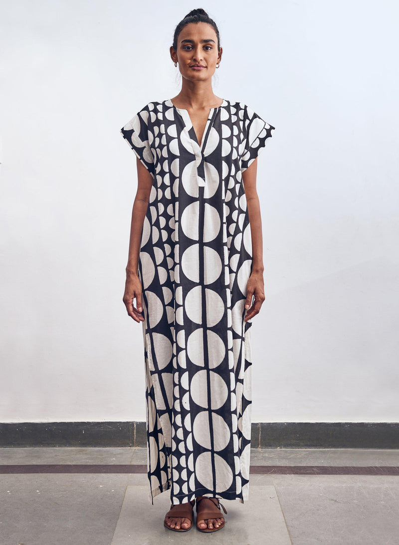 Phoebe Caftan, black + white eclipse print