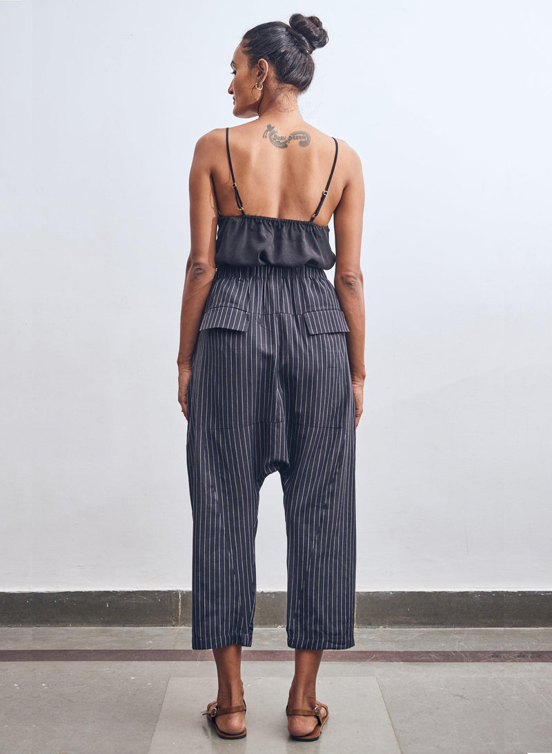 Jaipur Pants, black + white pinstripe