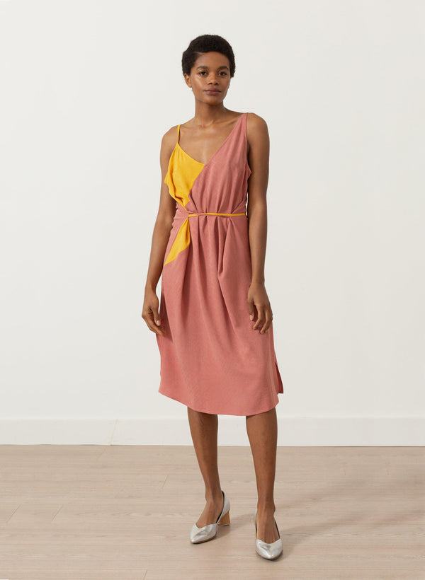 Bay Dress, sunset ripple silk jacquard