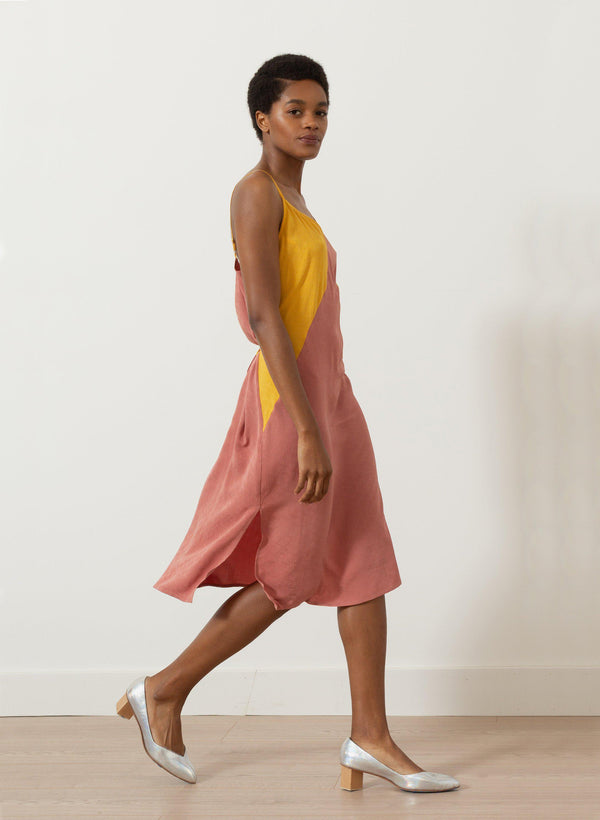 Archive Sale | Bay Dress, sunset ripple silk jacquard