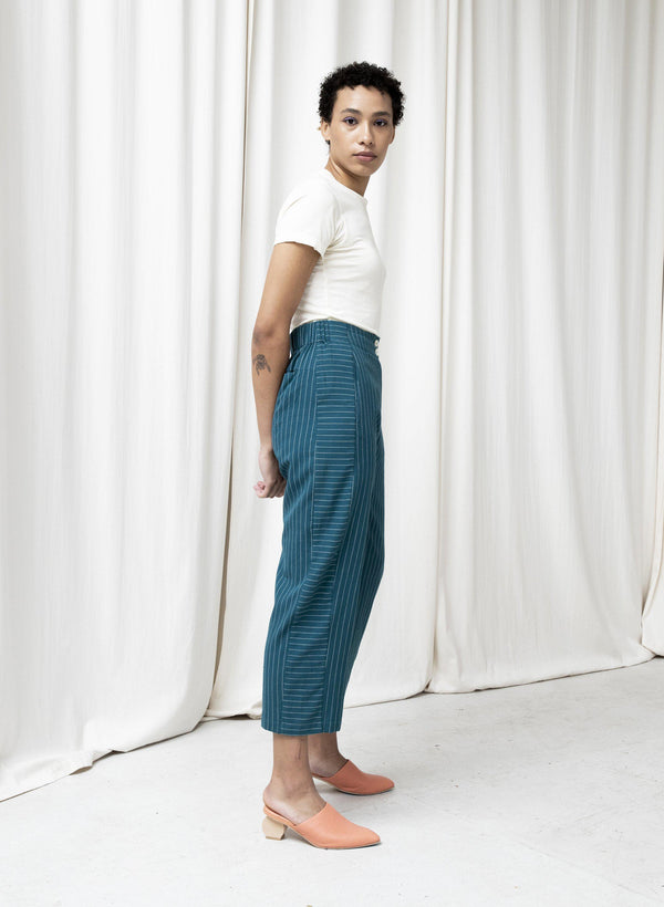 Haus Pants, evergreen pinstripe
