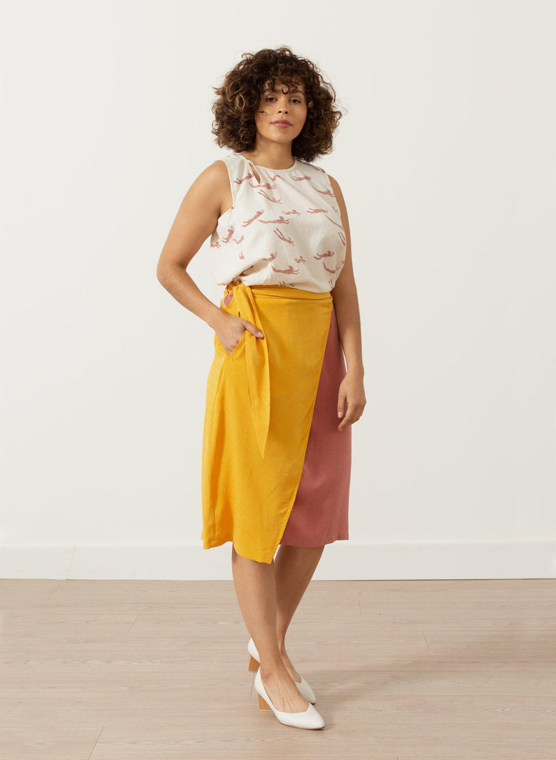 Nadine Wrap Skirt, sunset ripple silk jacquard