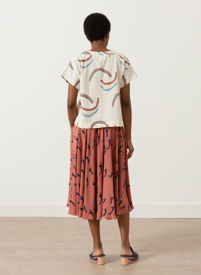 Oberoi Top, dusk waves print