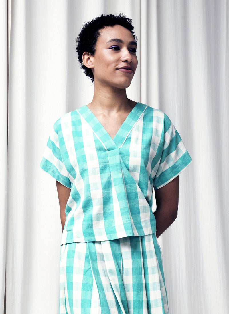 Oberoi Top, mint gingham