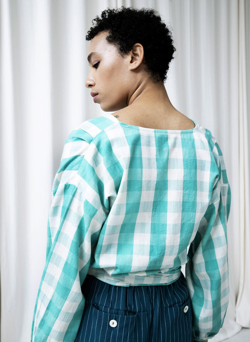 Paige Top, mint gingham