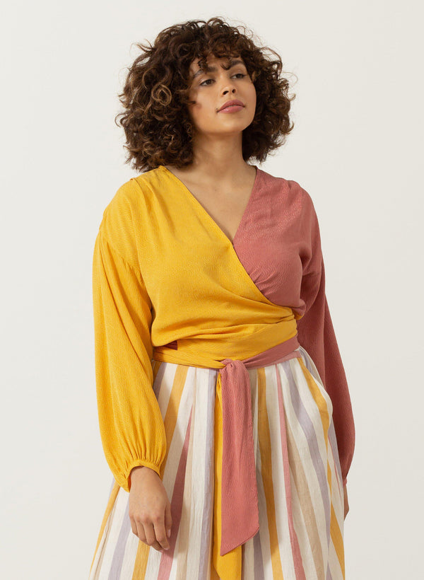 Paige Top, sunset ripple silk jacquard