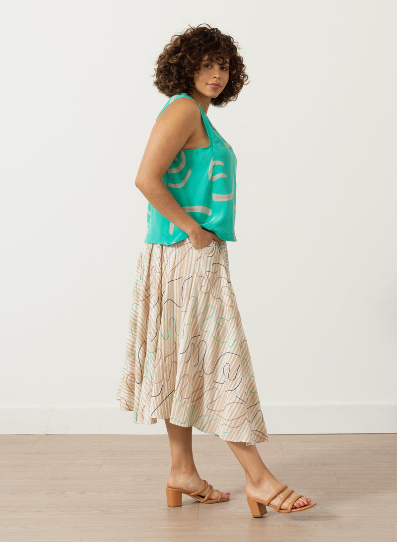 Pan Tank, mint waves print