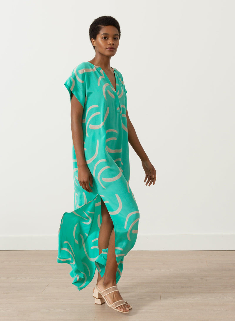 Phoebe Caftan, mint waves print